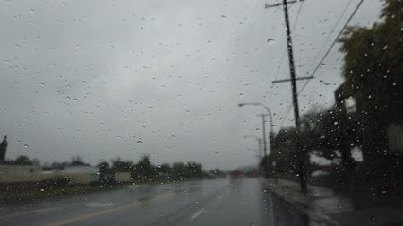 verkeersbord : Driving in the rainy Los Angeles urban at California