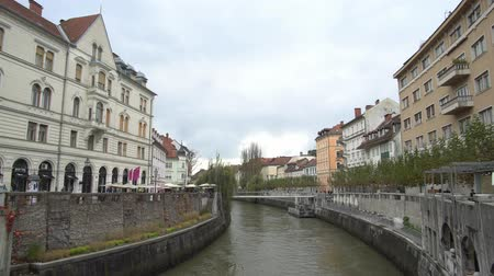 ljubljana : Ljubljana, NOV 3: Triple Bridge and the river citscape on NOV 3, 2018 at Slovenia