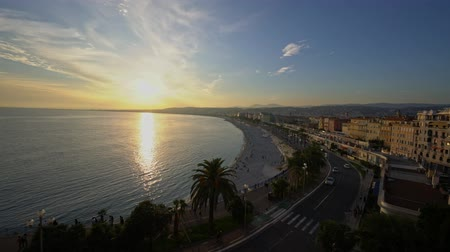 césar : Aerial sunset view of the famous Angels Bay, Nice at France