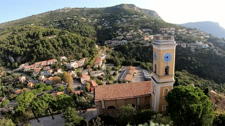 assumption : Exterior view of the historical Church of Our Lady of the Assumption of Eze near Nice, at France Stock Footage