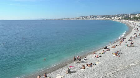 frança : Aerial morning view of the famous Angels Bay, Nice at France