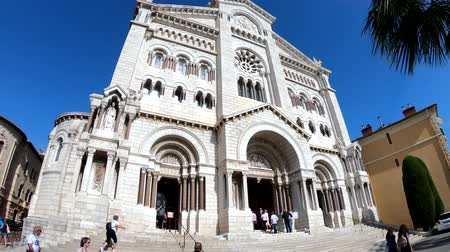 sinterklaas : Monaco, OCT 21: Exterior view of the historical Saint Nicholas Cathedral on OCT 21, 2018 at Monco Stockvideo