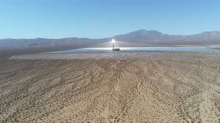 alpes : Aerial view of the solar tower of the Ivanpah Solar Electric Generating System at California Stock Footage