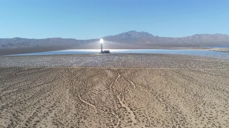 solar : Aerial view of the solar tower of the Ivanpah Solar Electric Generating System at California Stock Footage