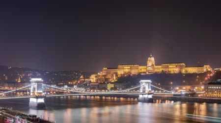süspansiyon : Twilight to night time lapse of the famous Széchenyi Chain Bridge at Budapest, Hungary