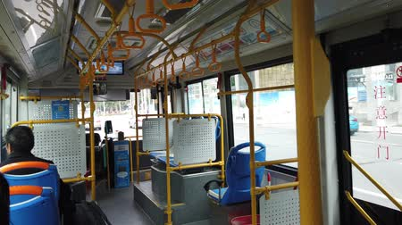 inside bus : Zhuhai, DEC 30: Interior view of a bus on DEC 30, 2019 at Zhuhai, China