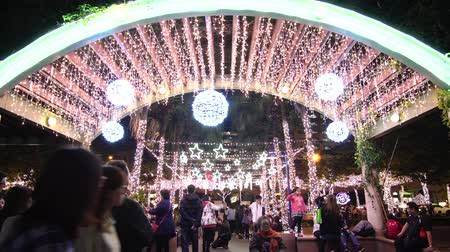 taipei : Banqiao, DEC 19: Night view of the christmas decoration in front of the City Hall on DEC 19, 2018 at Banqiao, New Taipei City, Taiwan Stock Footage