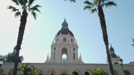 spanish style : Afternoon sunny motion view of The beautiful Pasadena City Hall at Los Angeles, California, United States