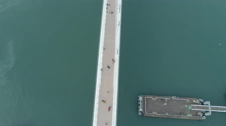 мрачный : Aerial view of the Lovers Bridge of Tamsui Fishermans Wharf in a cloudy day on JAN 5, 2019 at Taipei