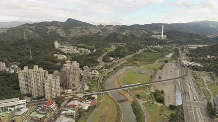 public transportation : Aerial view of the landscape, metro line near Muzha station at Taipei