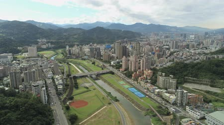 nyilvános : Aerial view of the landscape, cityscape near Muzha station at Taipei Stock mozgókép