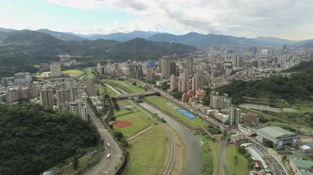 taipei : Aerial view of the landscape, cityscape near Muzha station at Taipei Stock Footage