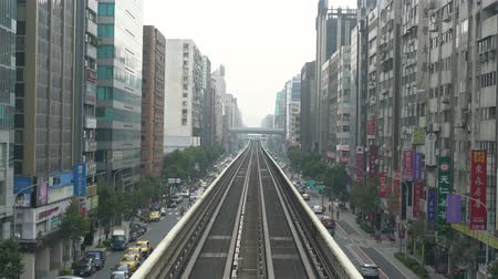 daan : Taipei, DEC 19: Metro line and cityscape of Daan District on DEC 19, 2018 at Taipei, Taiwan Stock Footage