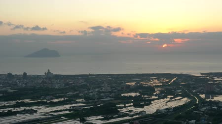 plain : The beautiful sunrise landscape of Lanyang Plain with Guishan Island at Yilan, Taiwan