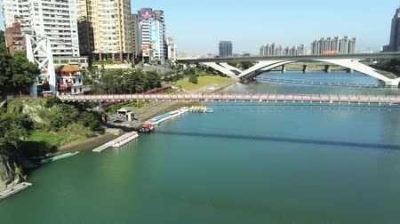 the suspension bridge : Aerial view of the famous Bitan Scenic area in Xindian Districtat New Taipei City, Taiwan