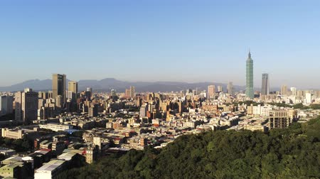 bird eye : Aerial view of the Xinyi District with Taipei 101 at Taipei, Taiwan Stock Footage