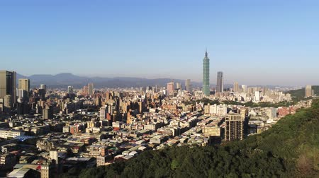 típico : Aerial view of the Xinyi District with Taipei 101 at Taipei, Taiwan Stock Footage