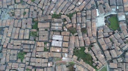 wok : Aerial view of the Bagua Village of Licha Cun at Zhaoqing, China Stock Footage