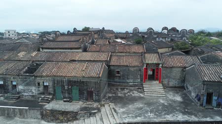 taoism : Aerial view of the Bagua Village of Licha Cun at Zhaoqing, China Stock Footage