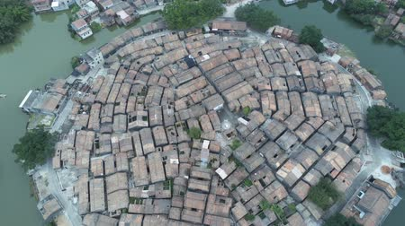 oito : Aerial view of the Bagua Village of Licha Cun at Zhaoqing, China Stock Footage