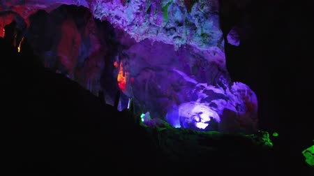 província : The beautiful Seven Star cave with colorful lights and reflection at Seven-star Crags Scenic Area, Zhaoqing, China