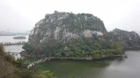 província : Aerial view of the Seven star bridge, mountains around Seven-star Crags Scenic Area at Zhaoqing, China