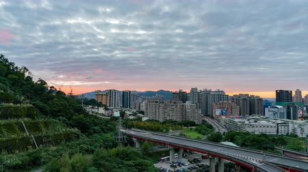 úhel : Taipei, DEC 15: Night high angle time lapse of a beautiful loop in Xindian District on DEC 15, 2018 at Taipei, Taiwan