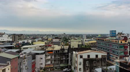 пригородный : Yilan, DEC 20: Aerial time lapse of the cityscape on DEC 20, 2018 at Yilan, Taiwan Стоковые видеозаписи