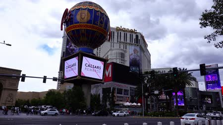 eiffel : Las Vegas, APR 28: Exterior view of the Paris Las Vegas casino on APR 28, 2019 at Las Vegas, Nevada Stock Footage