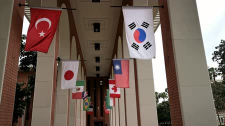 meridional : Los Angeles, APR 4: International flags swinging in VKC Library of USC on APR 4, 2019 at Los Angeles, California