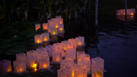 loto : Close up of many lantern in Lotus Festival Echo Park at Los Angeles, California Filmati Stock
