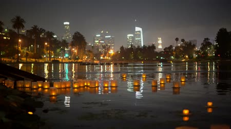 kívánságait : Close up of many lantern with downtown skyline in Lotus Festival Echo Park at Los Angeles, California Stock mozgókép