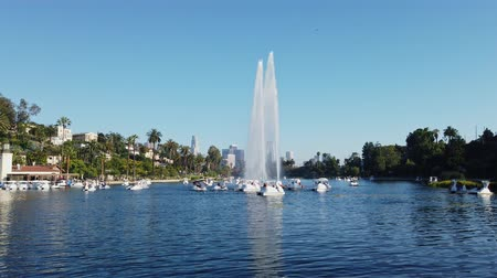 loto : Vista di pomeriggio dell'orizzonte del centro famoso di Los Angeles in Echo Park a Los Angeles, California Filmati Stock