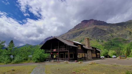 nps : Visitor center of the Two Medicine Lake in Glacier National Park at Montana Stock Footage