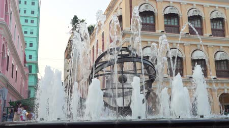 teszi : Macau, OCT 19: Morning view of the fountain of Largo do Senado on OCT 19, 2019 at Macau, China Stock mozgókép