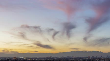 las vegas boulevard : Sunset timelapse of the famous Las Vegas Strip skyline with mountain behind at Nevada
