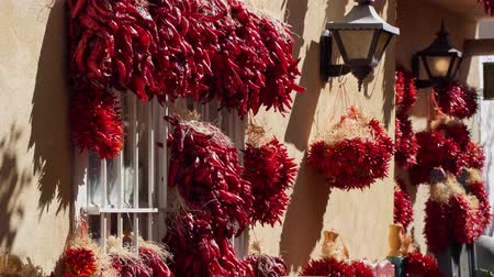 pimentas : Wall hanging with many red pepper string at Albuquerque, New Mexico