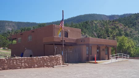 rugók : Exterior view of the Jemez Historic Site at New Mexico Stock mozgókép