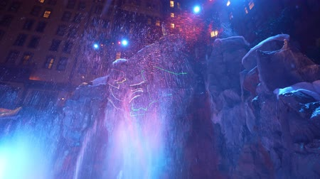 мистик : Las Vegas, DEC 12: Interior view of the Sams towns Mystic Falls Park waterfall show on DEC 12, 2019 at Las Vegas, Nevada Стоковые видеозаписи