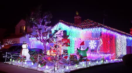 neon lights : Las Vegas, DEC 12: Night view of the colorful Christmas home on DEC 12, 2019 at Las Vegas, Nevada Stock Footage