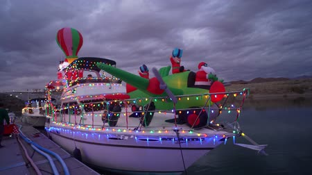 mead : Nevada, DEC 14: Christmas boat display in the Lake Mead on DEC 14, 2019 at Nevada