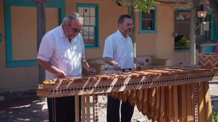 mexico city : Albuquerque, OCT 5: Two old man performance of traditional music on OCT 5, 2019 at Albuquerque, New Mexico Stock Footage