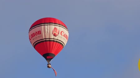 Albquerque, OCT 4: Canon ballon carrying the American flag flying out in the famous Albuquerque International Balloon Fiesta event on OCT 4, 2019 at Albquerque, New Mexico
