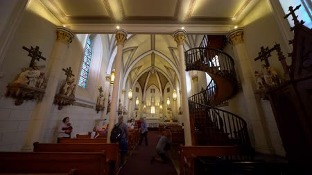 Santa Fe, OCT 6: Helix-shaped spiral staircase of the famous Loretto Chapel on OCT 6, 2019 at Santa Fe, New Mexico