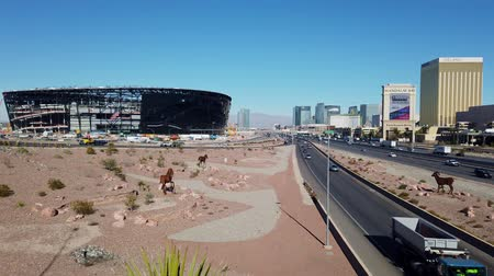 jogos de azar : Las Vegas, DEC 17:  Construction site of the Allegiant Stadium and strip view on DEC 17, 2019 at Las Vegas, Nevada