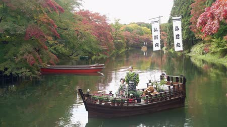 prefecture : Morning view of the moat with at boat surrounding Hirosaki Castle at Hirosaki, Japan