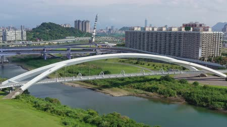 tajvan : Aerial sunny view of the Sunshine Bridge with cityscape of Xindian District, Taiwan
