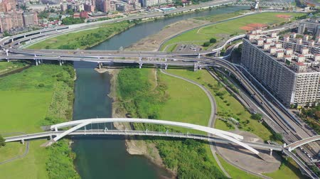 taipei : Aerial sunny view of the Sunshine Bridge with cityscape of Xindian District, Taiwan