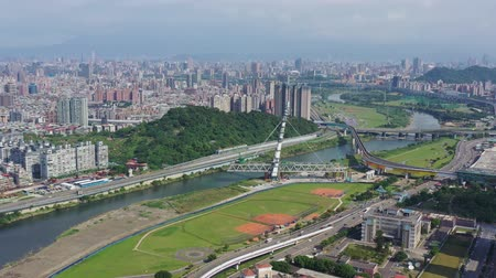 taipei : Aerial sunny view of the Xindian District cityscape at Taipei, Taiwan