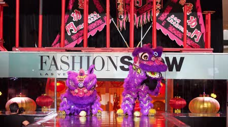 lion : Las Vegas, JAN 26:  Chinese New Year celebration in the Fashion Show shopping mall on JAN 26, 2020 at Las Vegas, Nevada